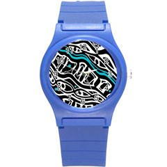 Blue, black and white abstract art Round Plastic Sport Watch (S)