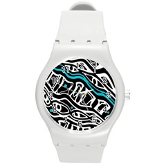 Blue, black and white abstract art Round Plastic Sport Watch (M)