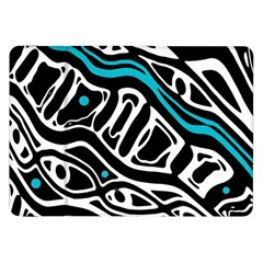 Blue, black and white abstract art Samsung Galaxy Tab 8.9  P7300 Flip Case