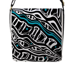Blue, black and white abstract art Flap Messenger Bag (L)