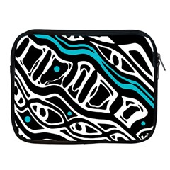Blue, black and white abstract art Apple iPad 2/3/4 Zipper Cases