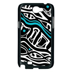 Blue, black and white abstract art Samsung Galaxy Note 2 Case (Black)