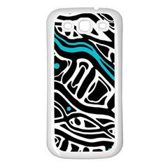 Blue, black and white abstract art Samsung Galaxy S3 Back Case (White)