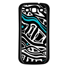 Blue, black and white abstract art Samsung Galaxy S3 Back Case (Black)