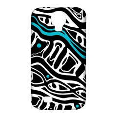 Blue, black and white abstract art Samsung Galaxy S4 Classic Hardshell Case (PC+Silicone)