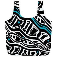 Blue, black and white abstract art Full Print Recycle Bags (L)