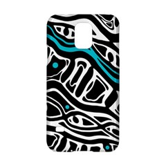 Blue, black and white abstract art Samsung Galaxy S5 Hardshell Case