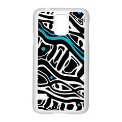 Blue, black and white abstract art Samsung Galaxy S5 Case (White)