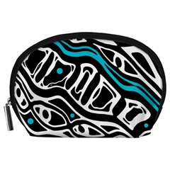 Blue, black and white abstract art Accessory Pouches (Large)