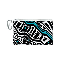Blue, black and white abstract art Canvas Cosmetic Bag (S)
