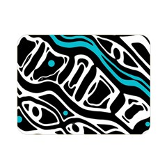 Blue, black and white abstract art Double Sided Flano Blanket (Mini)
