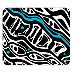 Blue, black and white abstract art Double Sided Flano Blanket (Small)