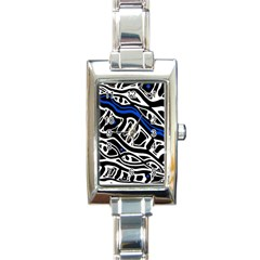 Deep blue, black and white abstract art Rectangle Italian Charm Watch