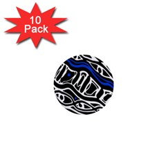 Deep blue, black and white abstract art 1  Mini Buttons (10 pack)