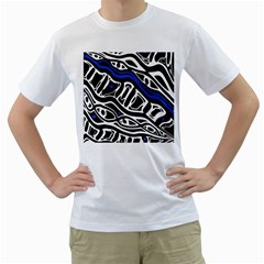 Deep blue, black and white abstract art Men s T-Shirt (White) (Two Sided)