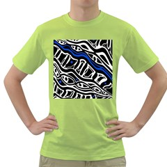 Deep blue, black and white abstract art Green T-Shirt