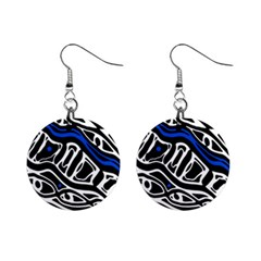 Deep blue, black and white abstract art Mini Button Earrings