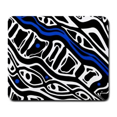 Deep blue, black and white abstract art Large Mousepads