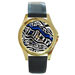 Deep blue, black and white abstract art Round Gold Metal Watch