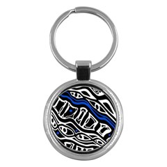 Deep blue, black and white abstract art Key Chains (Round)