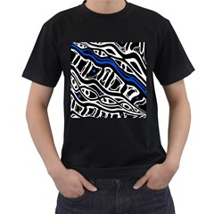 Deep blue, black and white abstract art Men s T-Shirt (Black) (Two Sided)