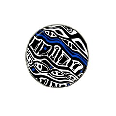 Deep blue, black and white abstract art Hat Clip Ball Marker