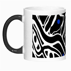 Deep blue, black and white abstract art Morph Mugs