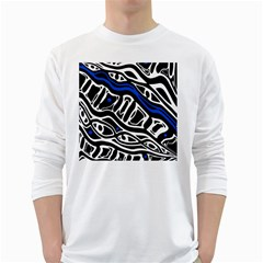 Deep blue, black and white abstract art White Long Sleeve T-Shirts
