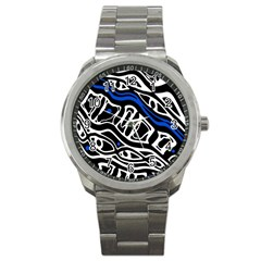 Deep blue, black and white abstract art Sport Metal Watch