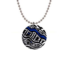 Deep blue, black and white abstract art Button Necklaces