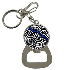 Deep blue, black and white abstract art Bottle Opener Key Chains
