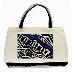 Deep blue, black and white abstract art Basic Tote Bag