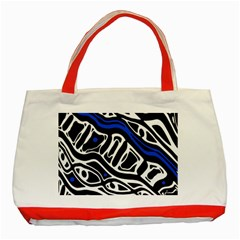 Deep blue, black and white abstract art Classic Tote Bag (Red)