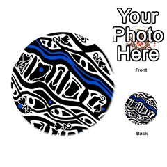 Deep blue, black and white abstract art Playing Cards 54 (Round)
