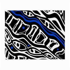 Deep blue, black and white abstract art Small Glasses Cloth (2-Side)