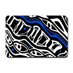 Deep blue, black and white abstract art Small Doormat