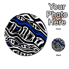 Deep blue, black and white abstract art Multi-purpose Cards (Round)