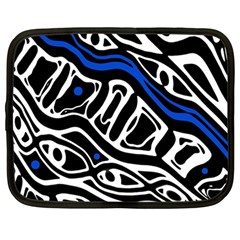 Deep blue, black and white abstract art Netbook Case (Large)