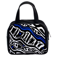 Deep blue, black and white abstract art Classic Handbags (2 Sides)