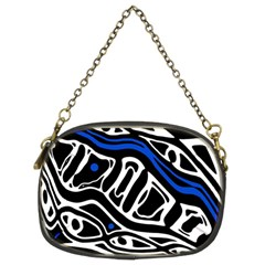 Deep blue, black and white abstract art Chain Purses (Two Sides)