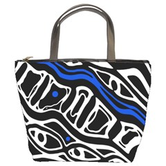 Deep blue, black and white abstract art Bucket Bags