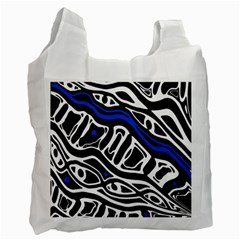 Deep blue, black and white abstract art Recycle Bag (Two Side)