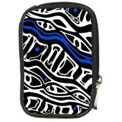 Deep blue, black and white abstract art Compact Camera Cases