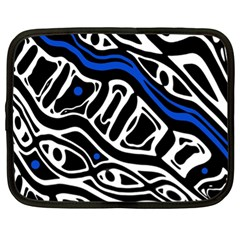 Deep blue, black and white abstract art Netbook Case (XL)