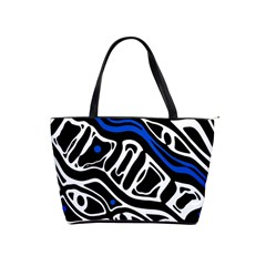 Deep blue, black and white abstract art Shoulder Handbags