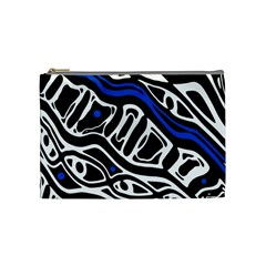 Deep blue, black and white abstract art Cosmetic Bag (Medium)