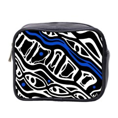 Deep blue, black and white abstract art Mini Toiletries Bag 2-Side