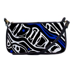 Deep blue, black and white abstract art Shoulder Clutch Bags
