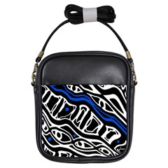 Deep blue, black and white abstract art Girls Sling Bags