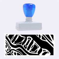 Deep blue, black and white abstract art Rubber Stamps (Large)
